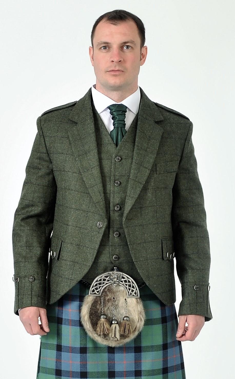 Argyll tweed Jacket With Waistcoat by Scottish KiltMade To Measure