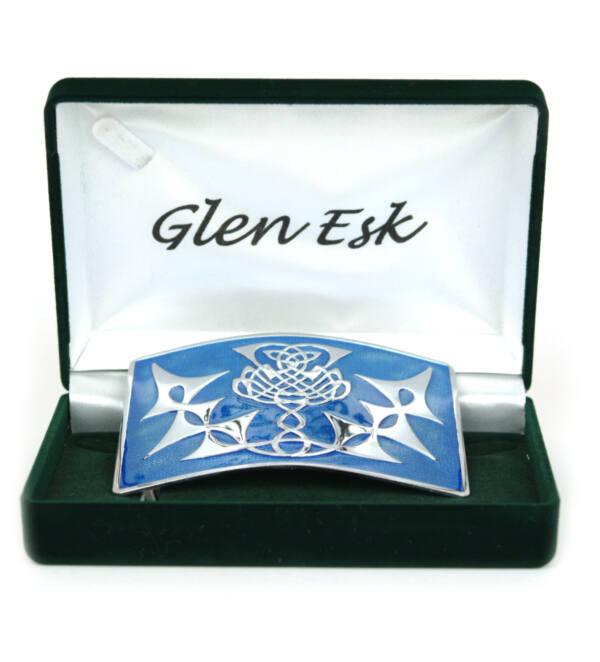 Chrome thistle on blue enamel kilt belt buckle