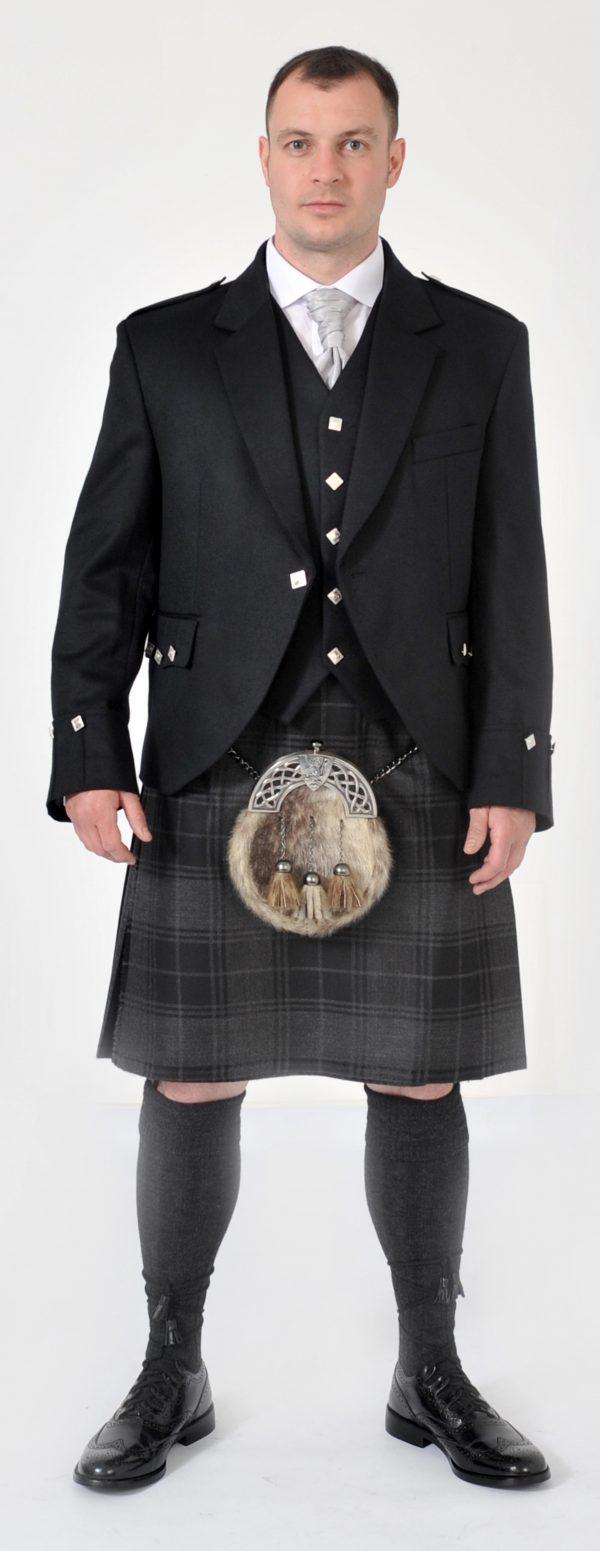 Grey Highlander Full Kilt Set