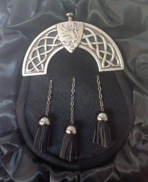 New Antique Celtic Shield Black Bovine Kilt Sporran