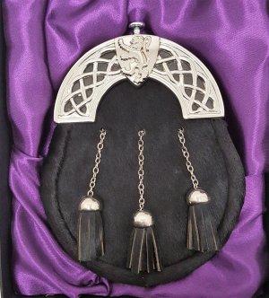 Chrome Celtic Shield Lion Cantle Black Bovine Kilt Sporran with Chains