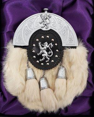 Chrome Celtic Lion Targe White Rabbit Sporran Gift Boxed