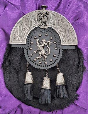 Antique Celtic Lion Targe Black Rabbit Sporran Gift Boxed