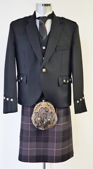Passion Of Scotland Pewter 8 yard Kilt Full Highland Dress Package