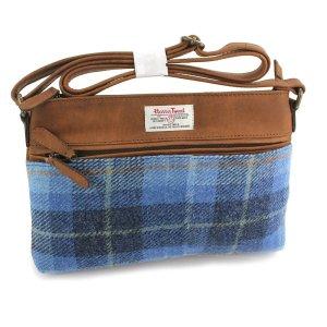 Harris Tweed Castlebay Blue Handbag with Leather Trim